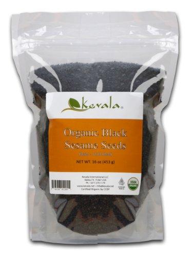 (Kevala Organic Black Raw and Unhulled Sesame Seeds, 1 Pound)