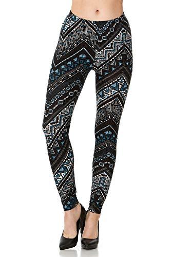 CARNIVAL Women's Full-Length Printed Soft Microfiber Legging, Black/Teal Zigzag, Medium