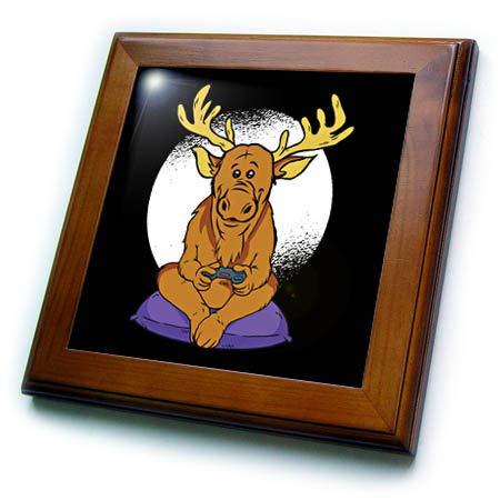 (3dRose Sven Herkenrath Animal - Comic Cartoon Deer who is Playing Video Games - 8x8 Framed Tile (ft_317540_1))