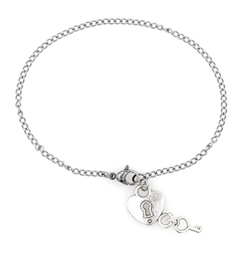 "7.5"" - 9.5"" Stainless Steel Ankle Bracelet with Alloy Heart & Key Ankle Bracelet Key to My Heart Heart/Key (AB 52B)"