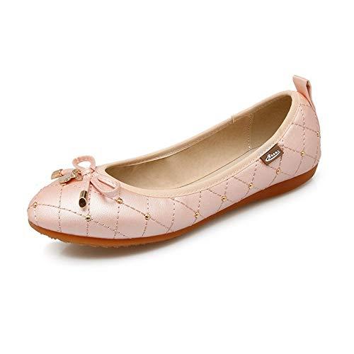 Cabeza Casual 45 Zapato Superficial Código Doudou Planos Redonda Plana Fondo Zapatos Grande Shoes Pink Único Blando AIMENGA 41 Suela 4WPEnq8x
