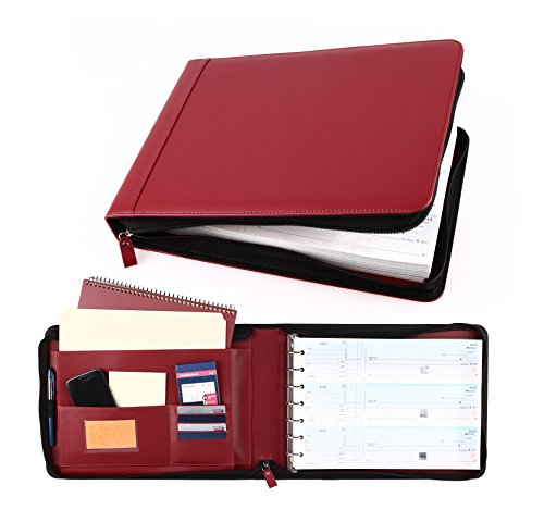 Business Check 7 Ring Binder for 3-Up Checks PU Leather Portfolio Checkbook Cover with Zipper - Leather Zip Ring Binder