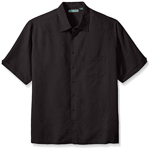 Cubavera Men's Big and Tall Floral Jacquard Woven Shirt, Jet Black, 2X-Large/Tall