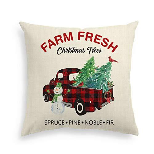 AVOIN Farm Fresh Christmas Tree Pillow Cover Buffalo Plaid Truck, 18 x 18 Inch Winter Holiday Linen Cushion Case Decoration for Sofa Couch (Shell's Christmas Tree Farm)