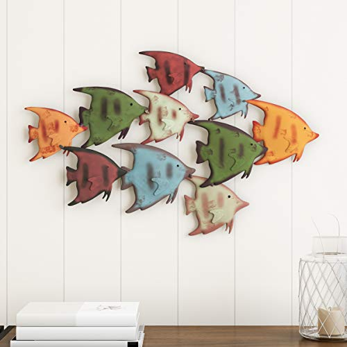 Lavish Home School of Fish Wall Art-Nautical 3D Metal Hanging Decor