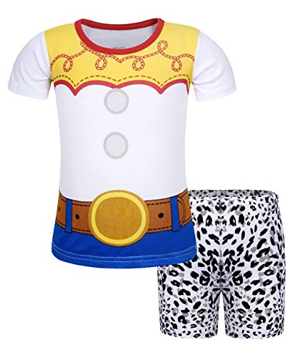 Jurebecia Girls Toddler Jessie Costume Jessie Short Sleeve Dress Up Halloween Costume Fancy Outfits Size 6