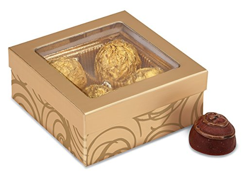 Pack Of 24, Golden Scroll Candy Boxes W/Clear Window 3-1/2X3-1/2X1-1/2
