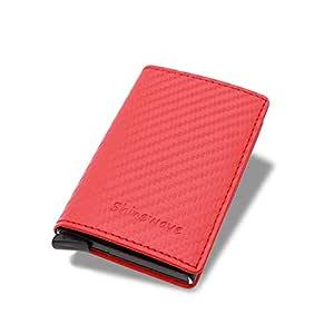Shinewave RFID Blocking Card Holder/RFID Wallets for Men, Carbon Fiber PU Leather, Magnetic Closure Design, Slim, Minimalist Wallet, Lightweight Aluminum/Metal Front Pocket Wallet Credit Card Holder for Front Pocket — Red