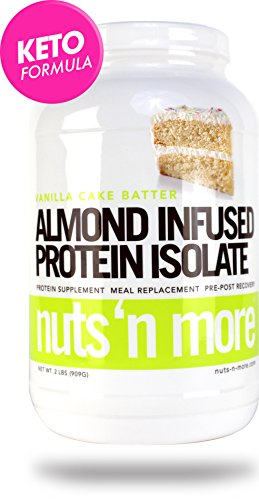 Nuts N More Vanilla Cake Batter Almond Infused Protein Isolate Powder, Keto, Low Carb, Low Sugar, Gluten Free, All Natural Sports Nutrition, 2 LBS