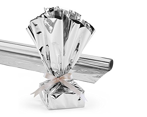 Hygloss Products Mylar Gift Wrap Roll - Great for Gift Bags, Baskets - 24 Inch x 8.3 Feet, Silver -