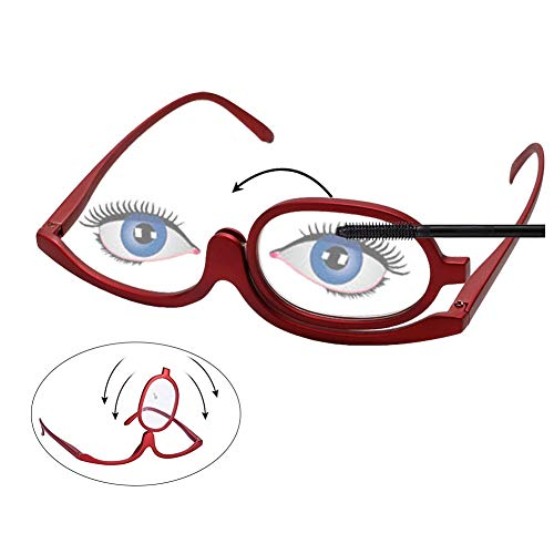 High Quality Magnifying Makeup Glasses Eye Make Up Spectacles Flip Down Lens Folding Cosmetic Womens(1.0X-4.0X) (+3.5, Red) ()