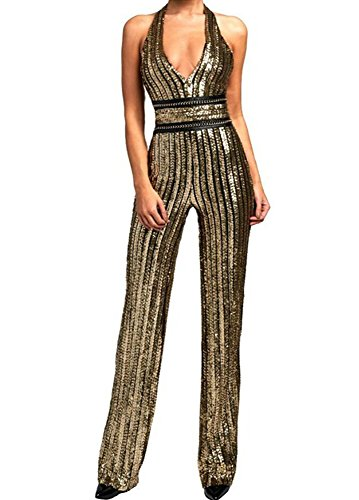 Missord Women's Deep-V Strapless Sleeveless Backless Playsuit Sequined Jumpsuit Gold Large