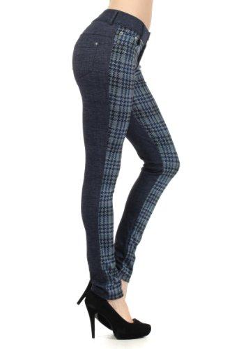 Fashion MIC 2 Tone with Houndstooth Plaid Fashion Pants (large, blue)
