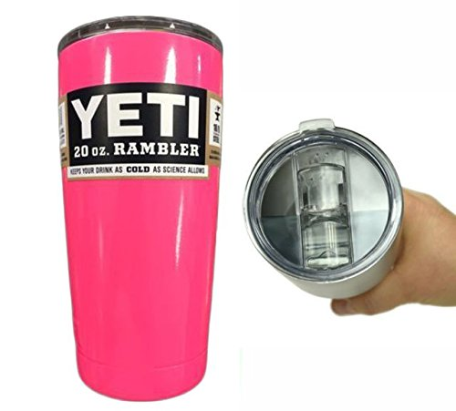 YETI Coolers 20 oz (20oz) Powder Coated Rambler Tumbler Cup with Extra Spill Proof Lid - Keeps your 20oz drink cold or hot for hours (Pink Punch)