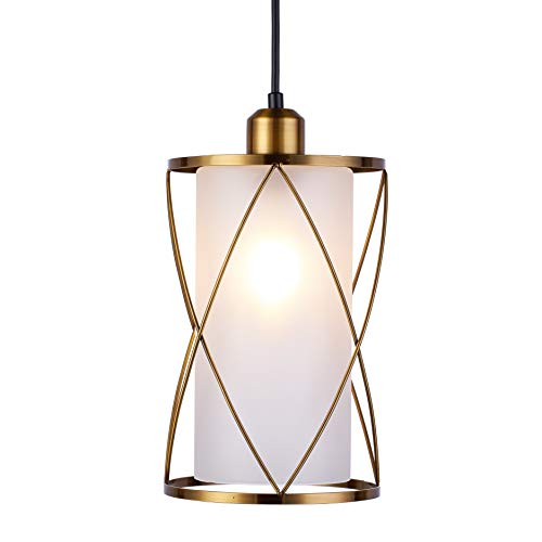 SHENGQINGTOP Modern Brushed Brass Pendant Light with Frosted Glass Mini Cylinder Pendant Lighting Fixture for Kitchen Island Sink Counter Farmhouse