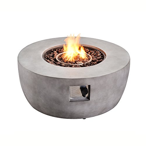 Peaktop HF36501AA Concrete Propane Gas Fire Pit Outdoor Garden Round, 36 Inches, Gray (Fire Pits Outdoor Gas Designs)