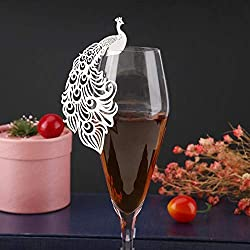 Vktech 50pcs Peacock Table Number Name Paper Place Cards Wine Glass Cup Card Decoration for Wedding Party Favor