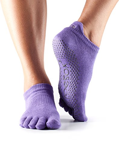 ToeSox Women's Low Rise Full Toe Grip Socks (Opal) Small