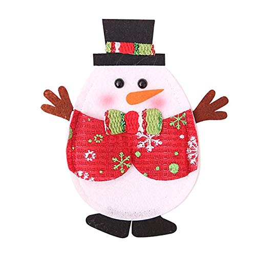 (LUONG THANH THUY-Christmas Knife Fork Bag Cutlery Set Skirt Pants Non-Woven Santa Claus Snowman Elk Fork Pack Christmas Decorations for Home-y steak )