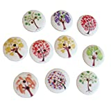 Demarkt 100 Pcs Handmade Buttons Circle Tree Printing Shape Buttons Craft Scrapbooking DIY Buttons Sewing for Children's Handmade Stickers Baby Cardigans Decoration(15MM)