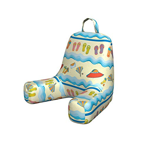 Ambesonne Flip Flop Reading Cushion with Back Pocket, Absurd Illustration of Sandy Beach with Flowing Sea Waves Straw Hats and Purse Boyfriend Pillow for Bed Rest Gaming, Small, Multicolor