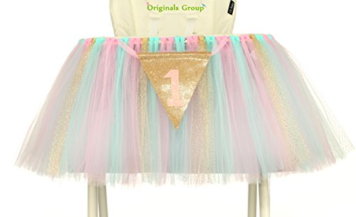 (Originals Group 1st Birthday Originals Group 1st Birthday Frozen Tutu for High Chair Decoration for Party SuppliesTutu for High Chair Decoration for Party Supplies (Mint+Pink+Gold))