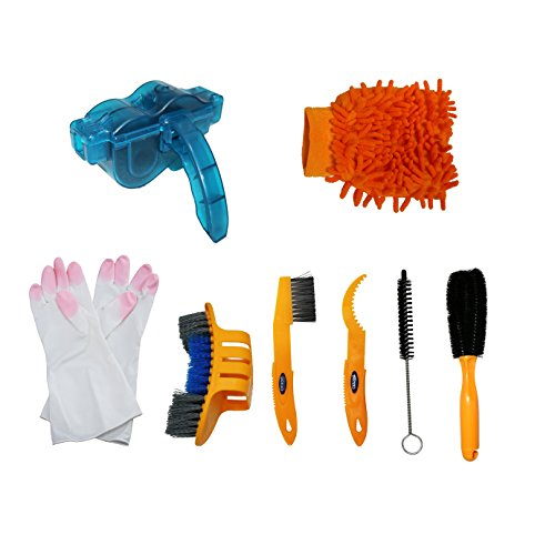 Bicycle Cleaning Tool Kits 8 Pieces Bike Cleaning Toll Bike Chain Cleaner Tool Wheel Cleaner Brush Compact Multipurpose Practical for Mountain, Road, City, Hybrid,BMX Bike and Folding ()
