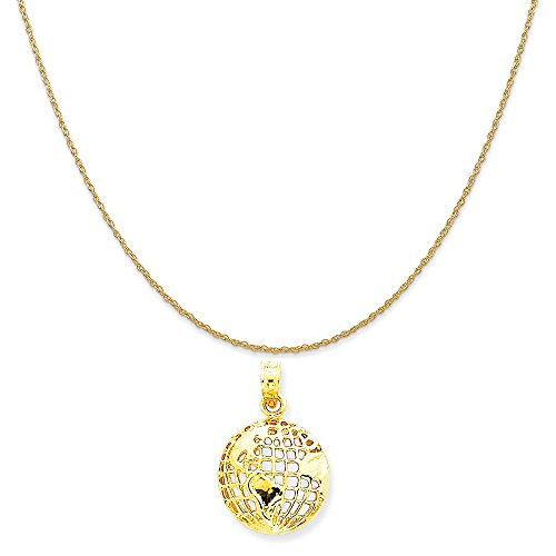 14k Gold Globe - Mireval 14k Yellow Gold Polished Globe Pendant on a 14K Yellow Gold Rope Chain Necklace, 18
