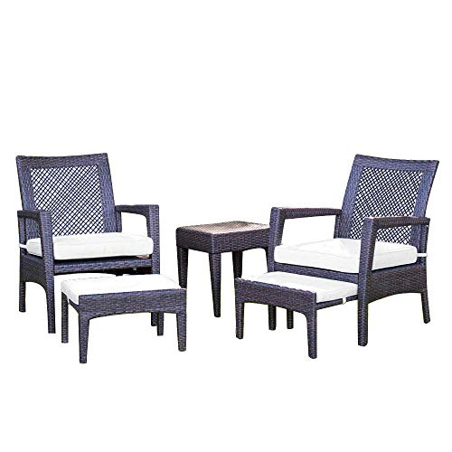 Auro Brisbane Outdoor Furniture | 5-Piece Lounge Chair & Ottoman | All-Weather Brown Wicker Conversation Set Chat Seating with White Olefin Cushioned Sofas & Side Table | Patio, Backyard, Pool, Porch