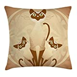 Ambesonne Animal Throw Pillow Cushion Cover, Three Cats Feline Familly Asian Siamese Babies Kittens with Ivy Background, Decorative Square Accent Pillow Case, 16 X 16 Inches, Tan and Light Brown