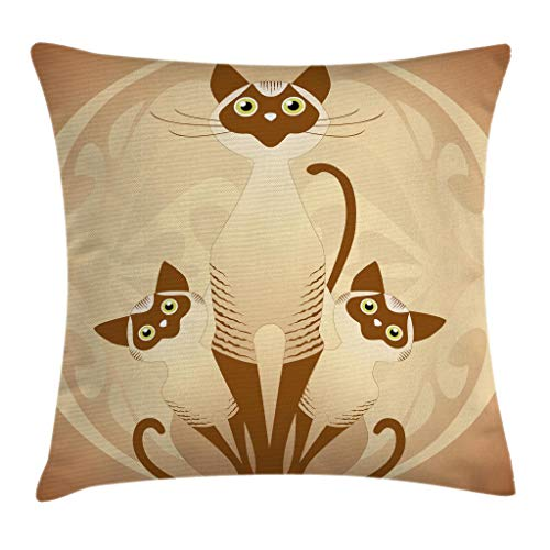 Ambesonne Animal Throw Pillow Cushion Cover, Three Cats Feline Familly Asian Siamese Babies Kittens with Ivy Background, Decorative Square Accent Pillow Case, 18 X 18 Inches, Tan and Light Brown
