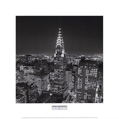 Henri Building Silberman Chrysler - New York, New York, Chrysler Building at Night by Henri Silberman - 12x12 Inches - Art Print Poster