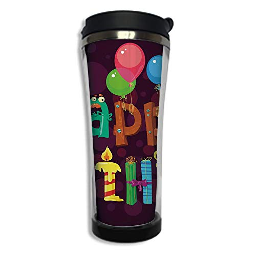 Travel Coffee Mug 3D Printed Portable Vacuum Cup,Insulated Tea Cup Water Bottle Tumblers for Drinking with Lid 8.45 OZ(250 ml)by,Birthday Decorations,Abstract Purple Background Ice Cream Sweets Party