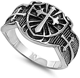 Shield Cross Biker Ring Stainless Steel