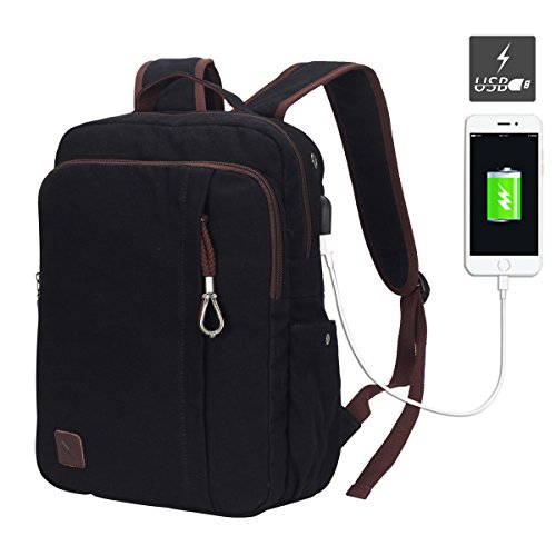 Hynes Eagle Professional Slim Laptop Backpack with USB Interface Fits 13.3 Inch Computer Black