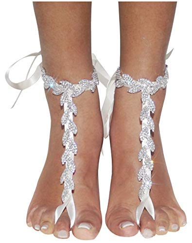 Bienvenu Ladies Foot Jewelry Beach Anklet Bridal Wedding Bangles Pool Party Accessories Set Barefoot Sandals with Leaf Rhinestone Design, Silver Style 4