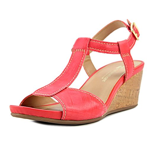 Naturalizer Womens Camilla T-Strap Wedge Sandal,Punch Plaid Embossed Leather,US Embossed Leather Wedge Sandal
