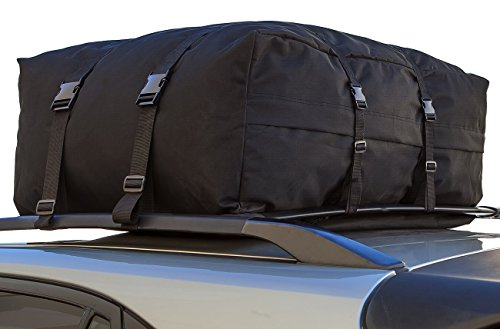 OxGord CARC-1143-BK 15-Cubic Feet Roof Top Cargo Rack Waterproof Carrier Bag for Vehicles (Saturn Astra Roof Rack compare prices)