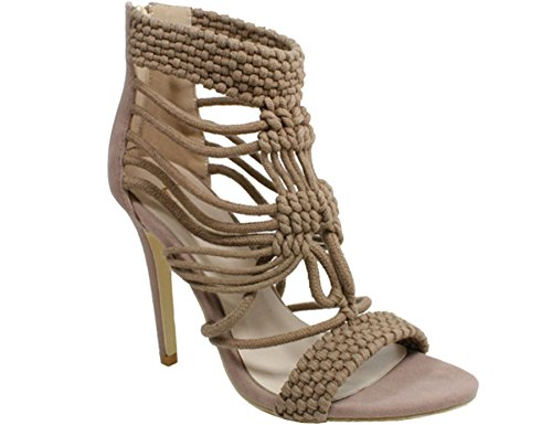 high New woven ladies shoes strappy sandals Beige womens ankle heel caged 77Utqrw