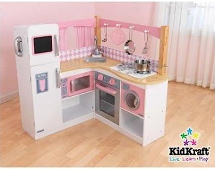 Amazon.com: Grand Gourmet Corner Wooden Kitchen Play Set ...