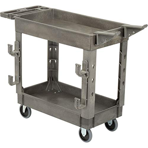 """Plastic 2 Shelf Service Cart with Ladder Holder and Utility Hooks, 38""""L x 17-1/2""""W x 32-1/2""""H"""