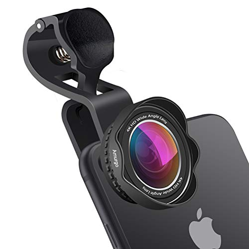 Amurgo Phone Camera Lens for iPhone, 4K HD Super Wide Angle Lens, 15x Macro Lens, 20 Million Pixels Phone Camera Lens, Clip-On Cellphone Lens for iPhone iPad, Most Phones and Tablet PC Laptops(Black)