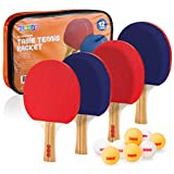 Play22 Ping Pong Paddle Set - 4 Table Tennis Paddles and 8 Ping Pong Balls and Portable Gift Case - Best Gift for Boys and Girls, Adults - Great for Indoor Or Outdoor Play - Speed, Control and Spin