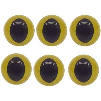 Multi-Colored 20 Pcs 15mm Plastic Safety Eyes Cat Eyes Premium Half Round Eyes for Doll Teddy Bear Toy DIY Craft Making