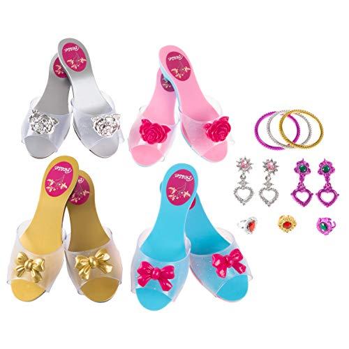 Hey! Play! Princess Dress Up Set- High Heels, Bracelets, Earrings, Rings-Pretend Play Costume Accessories for Tea Parties, Halloween, & Birthdays -