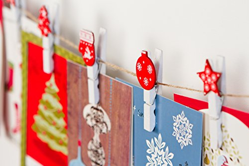 Christmas Greeting Card Holder - Hanging Organizer with 12 Photo Display Clips - White with Red Holiday - Advent Clip