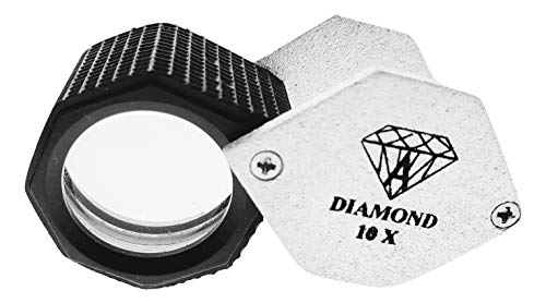 (Jewels of New York Jewelers Loupe Magnifying Glass Hexagon Shape Chrome Plated 21 mm Silver Color in Leather Case)