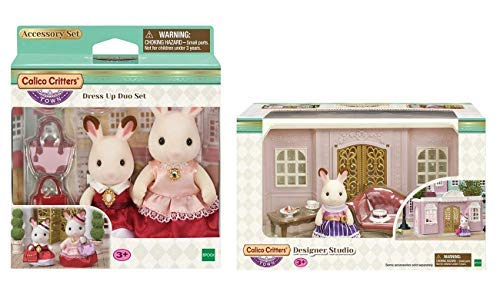 Calico Critters Town Dress Up Duo Set Bundled with Designer -
