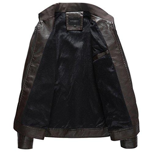 Veste Mens Polaire Pu Cuir Manteau Harrington Slim Fit Smart Vestes Foncé Rouge 8AZrxqw8Y