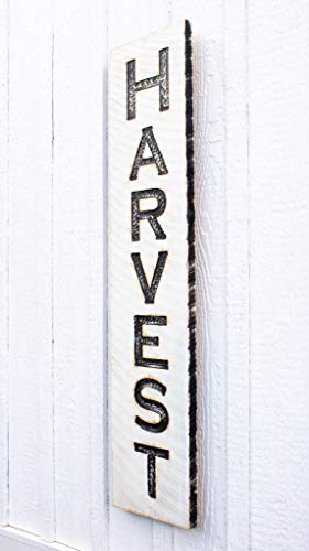 """Vertical HARVEST Sign 40""""t x 10""""w- Carved in solid rough cut lumber. Porch fall decor. Wood art"""